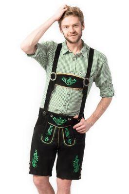 Lederhose Otto Short Black/Green - XL/54