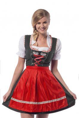 Oktoberfest Dress  Laura Black/Red- S/36