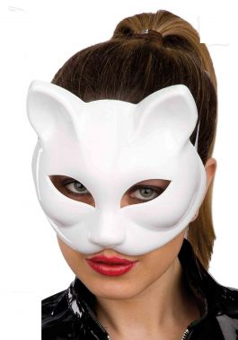 White cat mask (hard pvc)
