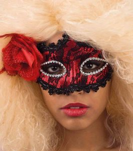 Lace and feathers black/red mask