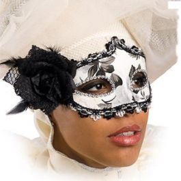 Black/white mask with rose