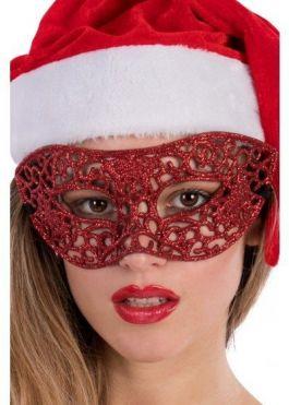 Red mask w/glitter