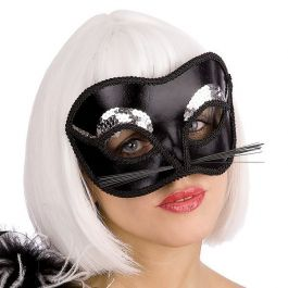 Black cat mask with silver sequins in pb