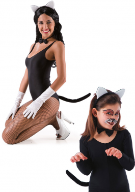Cat set (headband with ears tail and bow)