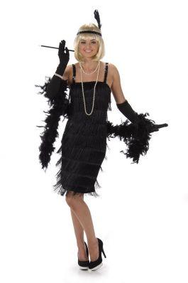 Black Flapper Dress - L