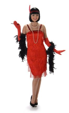 Red Flapper Dress - L