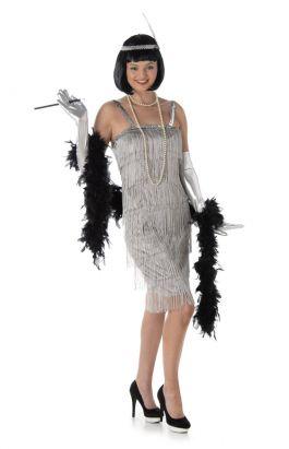 Silver Flapper Dress - M