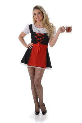 Short Oktoberfestdress Wendy Black Red - XS
