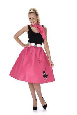 Dark Pink Poodle Skirt & Necktie - L