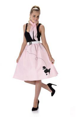 Light Pink Poodle Skirt & Necktie - M
