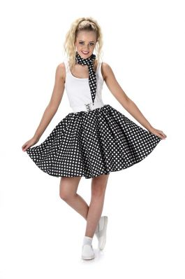 Black Polka Dot Skirt & Necktie - L
