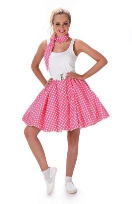 Dark Pink Polka Dot Skirt & Necktie - M