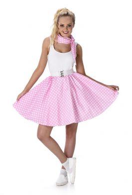 Light Pink Polka Dot Skirt & Necktie - M