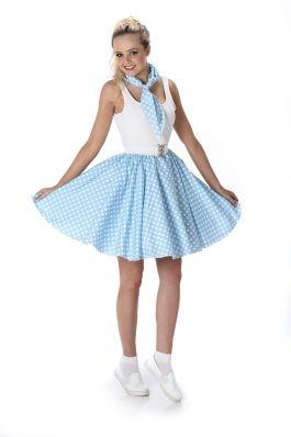 Turquoise Polka Dot Skirt & Necktie - L