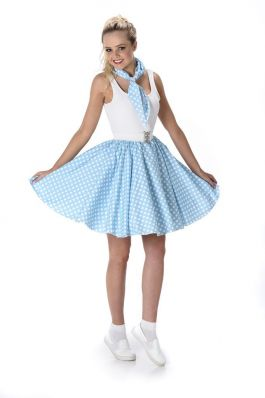 Turquoise Polka Dot Skirt & Necktie - XL
