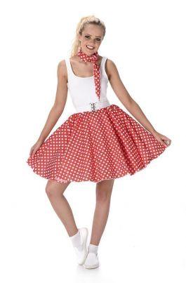Red Polka Dot Skirt & Necktie - M