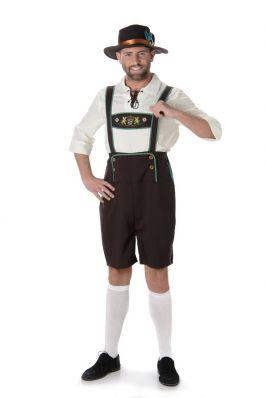 Lederhosen set: Der Manfred - Lederhosen' shirt en hoedje - L