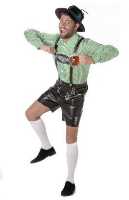 Lederhosen set: Der August - Lederhosen' shirt en hoedje - M