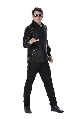 Black Sequined Disco Shirt - L