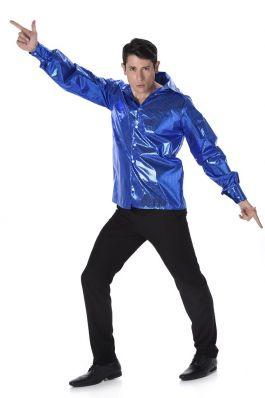 Blue Sequined Disco Shirt - M