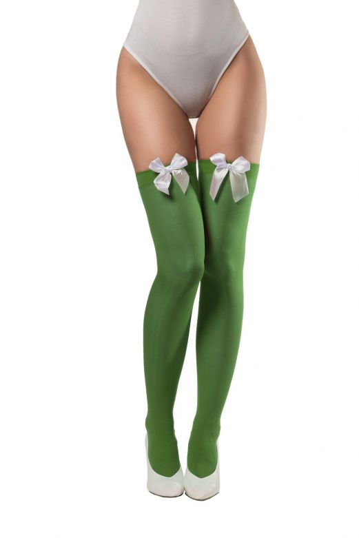 Stockings with Bow Green/White Bow