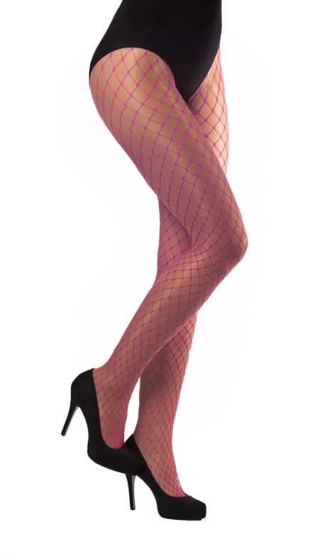 Tights large Meshes Neon Pink