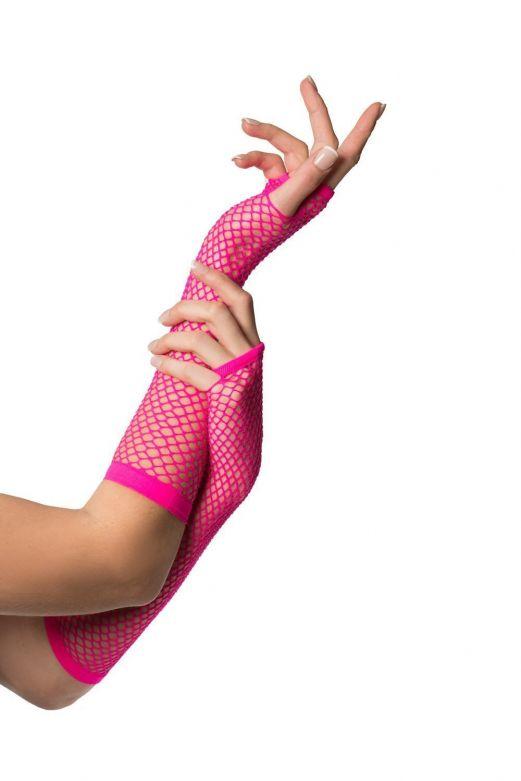 Fingerless Gloves Long Fishnet Neon Pink