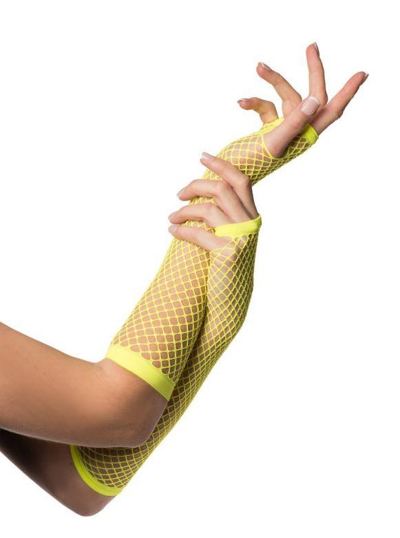 Fingerless Gloves Long Fishnet Neon Yellow