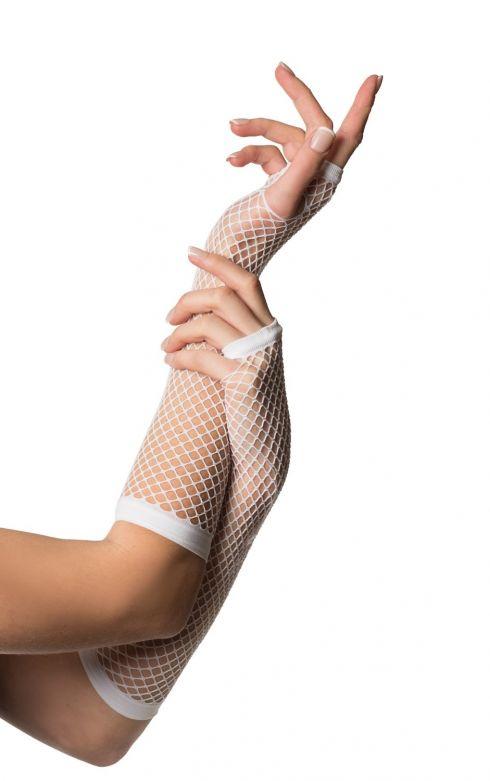 Fingerless Gloves Long Fishnet White
