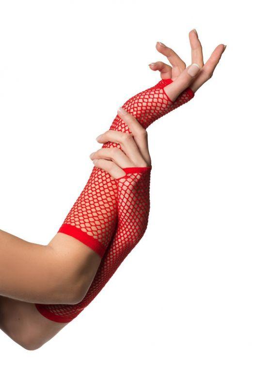 Fingerless Gloves Long Fishnet Red