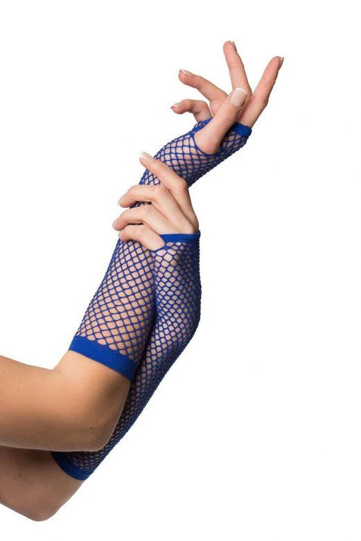 Fingerless Gloves Long Fishnet Blue