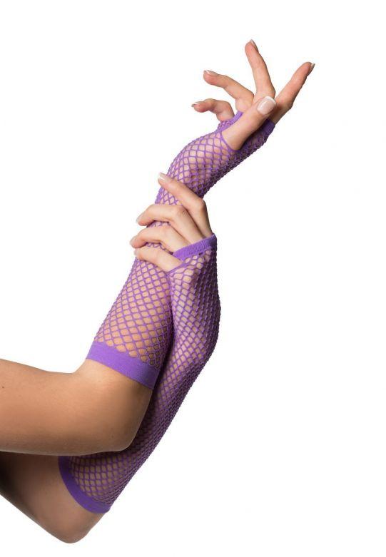 Fingerless Gloves Long Fishnet Purple