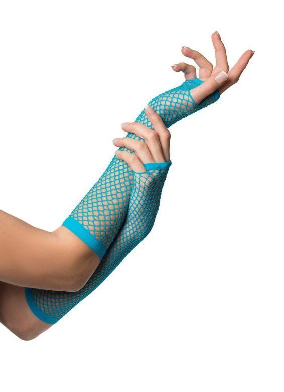 Fingerless Gloves Long Fishnet Turquoise