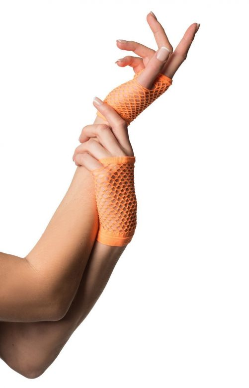 Fingerless Gloves Short Fishnet Neon Orange