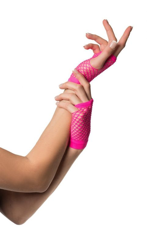 Fingerless Gloves Short Fishnet Neon Pink
