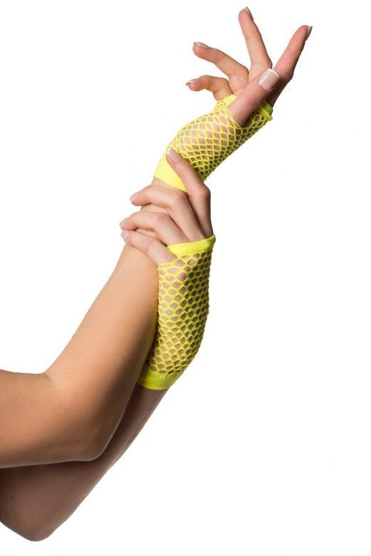 Fingerless Gloves Short Fishnet Neon Yellow