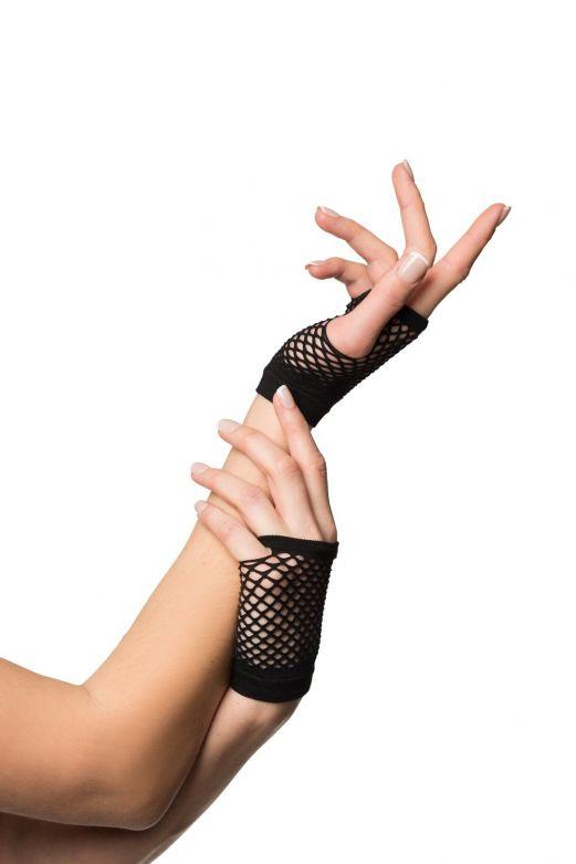 Fingerless Gloves Short Fishnet Black