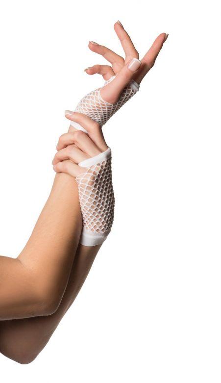 Fingerless Gloves Short Fishnet White