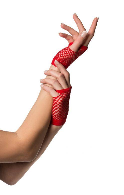 Fingerless Gloves Short Fishnet Red