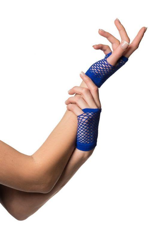 Fingerless Gloves Short Fishnet Blue
