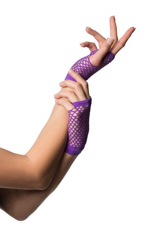 Fingerless Gloves Short Fishnet Purple
