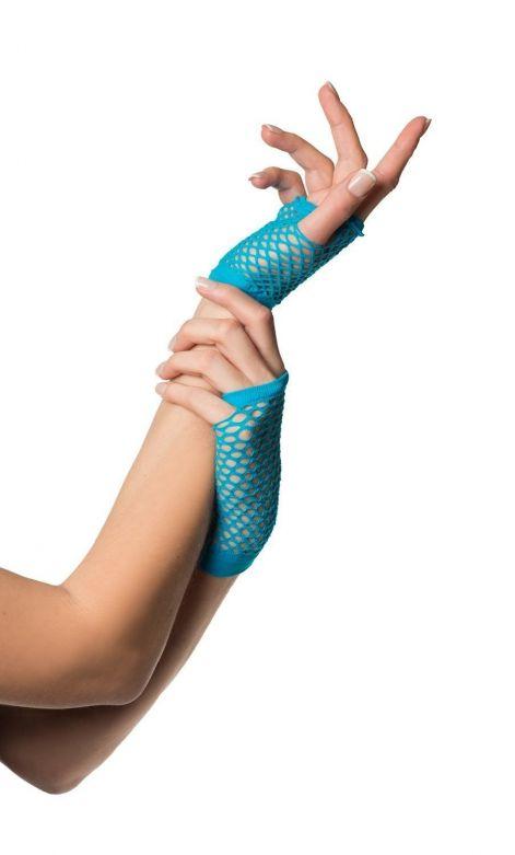Fingerless Gloves Short Fishnet Turquoise