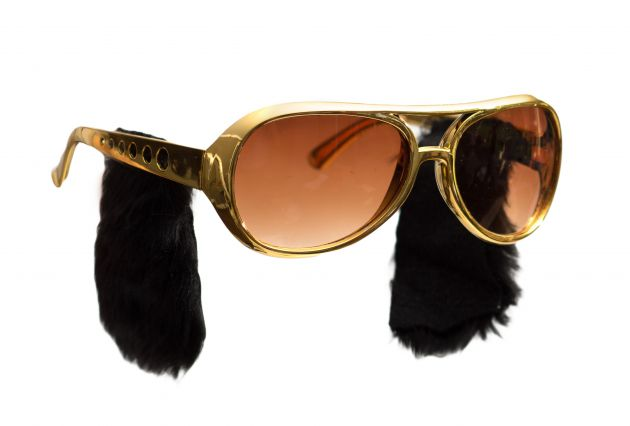 Elvis Glasses Gold with Sideburns