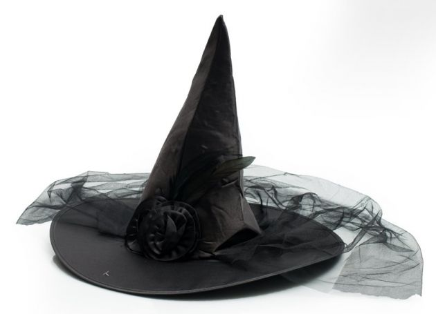 Witch Hat Black with Veil & flower decoration
