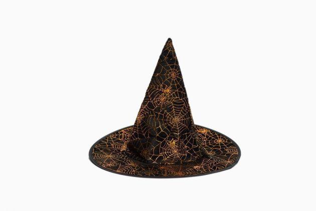 Witch Hat Black Gold Spider Print