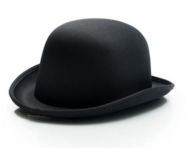 Bowler Hat Black Satin