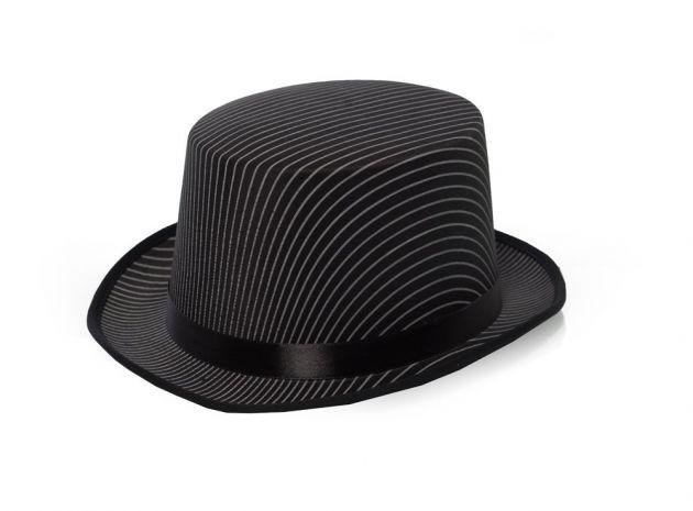 Top Hat Black Striped Satin