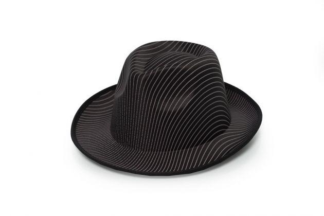 Gangster Hat Black Striped Satin