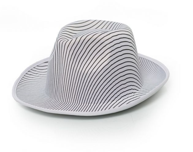 Gangster Hat White Striped Satin