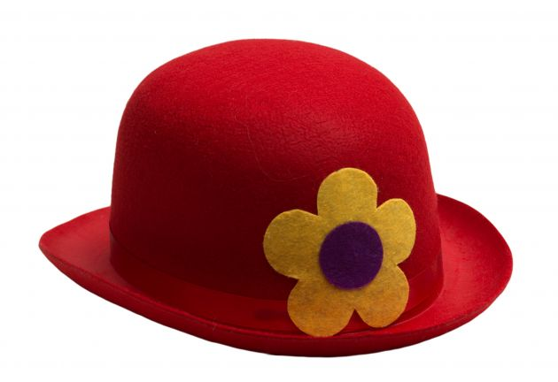 Clown Bowler Hat Red Felt